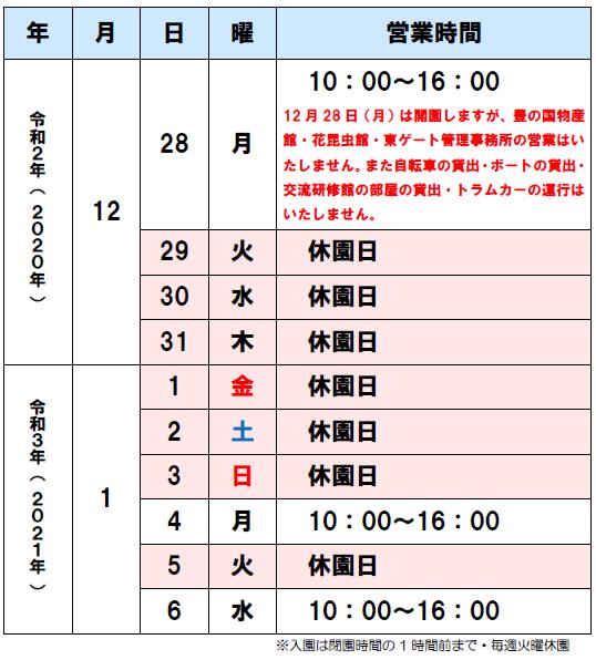 201213年末年始カレンダー